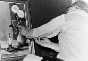 Der Maler Hans Schuster bei der Arbeit in Oldenburg. Foto: privat (Ulrich vom Berg)